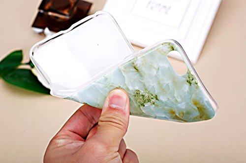 iPhone 6S Plus Silikon Hülle,iPhone 6 Plus Hülle,JAWSEU Cool Kreativ Ultradünn Weiche Blau Stein Marble Muster TPU Bumper Handytasche Flexible Soft Schutzhülle Zurück Marmor Linien Back Silicone Rubbe Marble,Grün