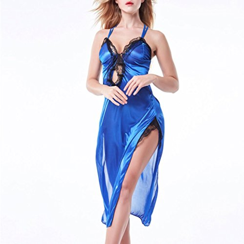 Sexy Camicia,Kword Donne Sexy Lingerie Pizzo Intimo Babydoll Pigiama,Body Shaper Mini Abito,Abito Elegante In Pizzo Blu