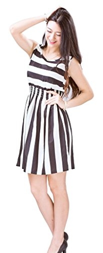 Bigood Robe Femme Mousseline de Soie Mini-robe Plage Col Rond Sans Blanc Noir I
