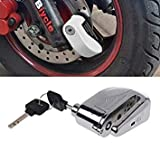 1cm Motorcycle Lock Safety Scooter Bicycle Anti-Theft Protection Wheel Disc Brake Lock Security Alarm+2 Keys