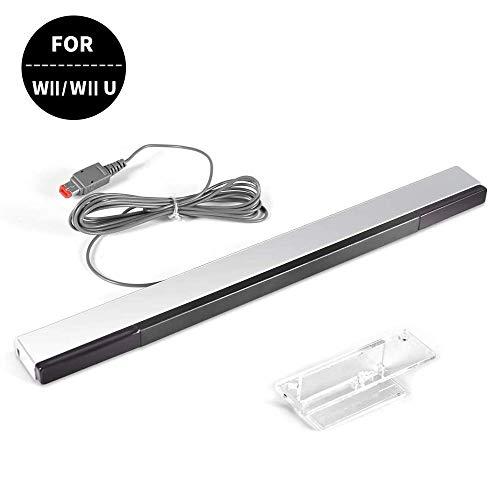 Wii Remote Motion Plus VenSen Controller Wireless Built-in 2-in-1 mit Silikonhülle Handschlaufe für Nintendo Wii/Wii U/Wii Mini Silver-Wii Sensor Bar (Für Remote Wireless Wii)