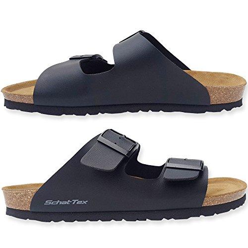 SchatTex Sandalen zwei Riemen schwarz Pantolette Hausschuhe Korksandale Schwarz