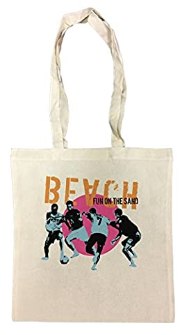 Beach Fun The Sand Blanc Coton Sac à Provisions En Coton Réutilisable Cotton Shopping Bag Reusable