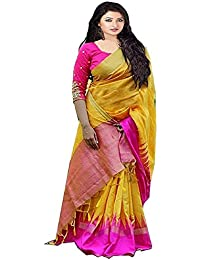 Harikrishnavilla Women's Bhagalpuri Silk Saree With Blouse Piece (Pink Br Pallu, Yellow, Free Size)