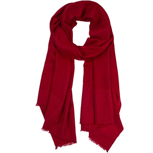 GJX@ Senso verticale tipo di crittografia MS Europa e in primavera e in autunno e in inverno solido colori scialle sciarpa di lana rossa rosa dual-purpose ultra-lunghi bi-fold portafogli , wine red
