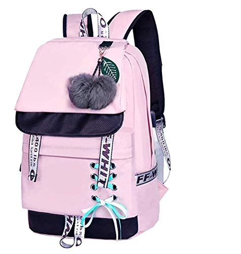 XZSXL señoras de la Escuela de Moda Bolsa Kawaii impresión Mochila Chica Casual Impermeable Mochila Escuela Adolescente-Pink