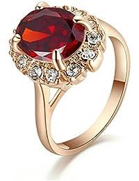 Yoursfs 18k plaqué Or rose Solitaire en Rubis de Bague de mariage à style de la Princess Kated pour Femmes