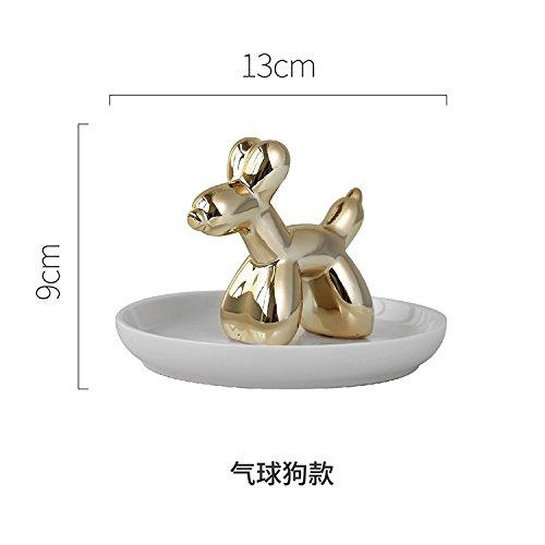 Powzz ornament Nordic Kreative Keramik, Tier Schmuck, Tray Ringe, Display-Platten, Goldschmuck Und Ornamente, Ballon Hund Empfangsscheibe - Tier-display Tray