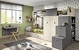 ambiato Kinderzimmer Vita 56, für 2 Kinder, viel Staurraum auch für Kleine Räume, Hochbett mit Treppe, Regal