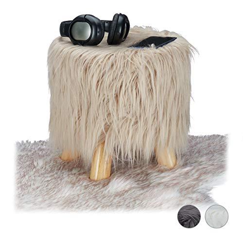 Relaxdays Fell Hocker, flauschig, 4 Holzbeine, gepolsterter Fußhocker, Kunstfell, rund, Dekohocker HxD: 31x31 cm, braun, Größe