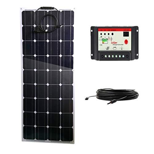 AUECOOR 100 Watt monokristallin, biegbar, leicht, Solarmodul-Set für Wohnmobil, Boot, Kabine, Zelt, Auto, Anhänger, 12 V Batterieladung