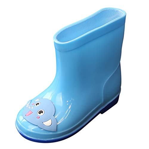 Ewendy Toddler Rain Boots, Kids Baby Shoes PVC Cartoon Animals Shoes-2.5 to 7 Years