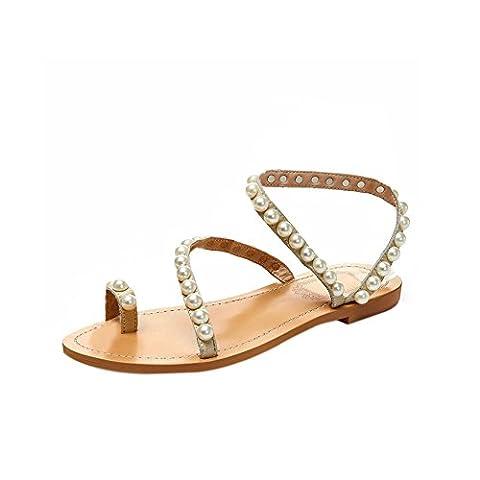 Fereshte Women's Girls Genuine Leather Pearl Toe-ring Convolve Strap Flat Sandals White EU 37 - UK