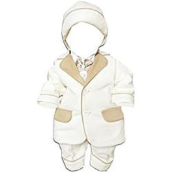 6 piece Los niños bautizo vestido de traje con chaqueta, camisa, pantalón, chaleco bordado, pajarita y sombrero, tamaño 68-74, L27