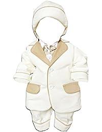 6 piece Los niños bautizo vestido de traje con chaqueta, camisa, pantalón, chaleco bordado, pajarita y sombrero, L27