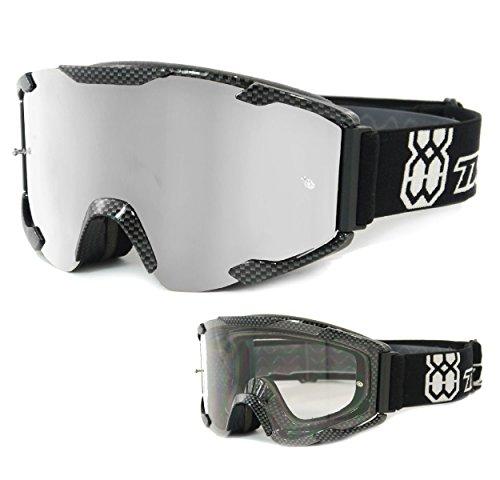 TWO-X Bomb Crossbrille Carbon Glas verspiegelt Silber MX Brille Motocross Enduro Spiegelglas Motorradbrille Anti Scratch MX Schutzbrille