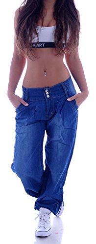 Damen Aladin Harem Jeans Hose Baggy Boyfriend Pluderhose Blau S 36 M 38 L 40 XL 42 XXL 44 (M 38)