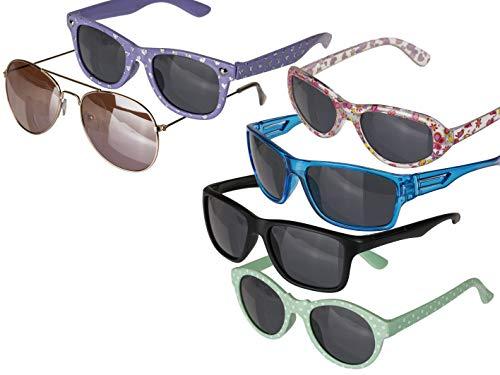 Princess n Prince Kinder-Sonnenbrille für Mädchen und Jungen von 4 bis 7 Jahre, UV 400 - klar mit Blümchen/schwarz