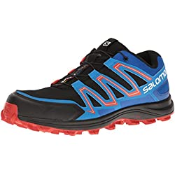 Salomon L39062300, Zapatillas de Trail Running Para Hombre, Negro (Black/Blue Yonder/Lava Orange), 42 EU