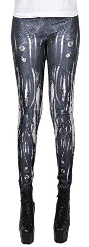 erdbeerloft - Damen Mädchen Leggins Leggings Mechanical Alien Print, One Size S-M-L, Mehrfarbig (Science Fiction Kostüm Muster)