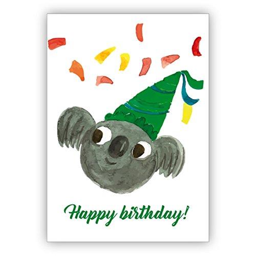 Lustige gemalte Geburtstagskarte mit Party Koala Bär und Konfetti als Glückwunsch für das Geburtstagskind: Happy Birthday • auch zum direkt Versenden mit ihrem persönlichen Text als Einleger.