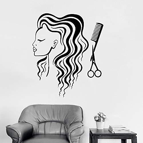 Ajcwhml Langes Haar Friseur mädchen wandtattoos Vinyl Dekoration kunstwand wandaufkleber schönheit Werkzeuge Schere kamm abziehbilder 110 cm x 132 cm (1 2 Für Mädchen, 4 Tennis-schuhe Größe)