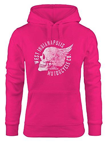 cooler Damen Hoodie mit Totenkopf Flügel, Motorrad Biker Skull Wings Vintage, Sweatshirt Kapuze Kapuzenpullover Neverless® pink L -