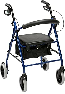 Drive DeVilbiss Healthcare R6 Blue Aluminium Rollator with Padded Seat and Vinyl Underseat Bag <7kg
