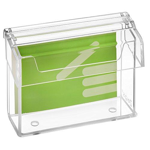 DIN A6 Prospektbox / Prospekthalter / Flyerhalter im Querformat, wetterfest, für Außen, mit Deckel, aus glasklarem Acrylglas - Zeigis®