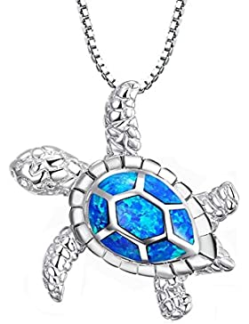 Tonver Halskette mit blauem Opal, Schildkröten-Anhänger, 925erSterlingsilber