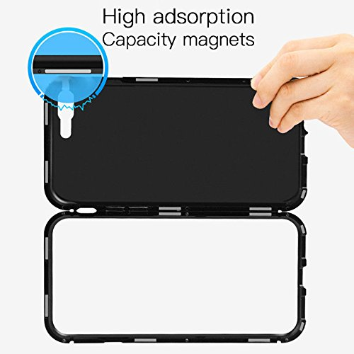 360 Degree Magnetic Adsorption Metal Bumper Tempered Glass Clear Shockproof Full Cover Case for iPhone 7 Plus & iPhone 8 Plus(Black)