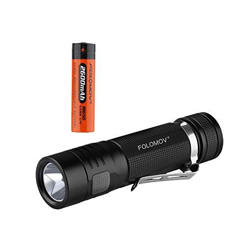 folomov edc-c41200Lumen Ladung und Entladung LED Taschenlampe mit Cree xp-l LED, 99,5mm Länge nur, USB aufladbare Funktion,, 1* USB Ladekabel und 1* 2600mAh 18650Akku -