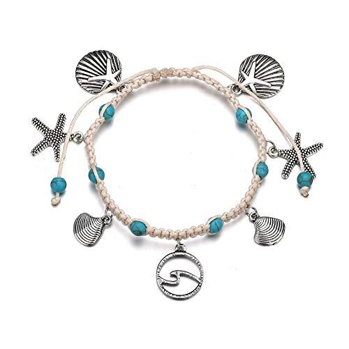 TUANTALL Fußkette Fußkette Silber Perlen Knöchel Armband Titan Stahl Unendlichkeit Einstellbare Bohemia Indische Große Länge Seestern Charm Sterling Fußkette