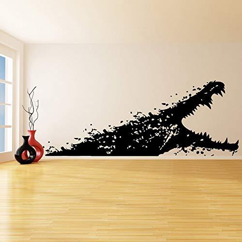 ttoo Alligator mit offenem Mund Meerestier Bad Kunst Dekor Aufkleber-Scary Crocodile Bath Wandhauptdekor 57 * 146 cm ()