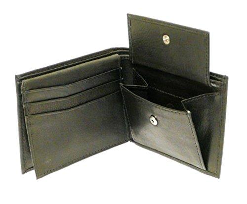 Neptune Giftware Hommes très molle en cuir noir porte-monnaie - cales 6 cartes de crédit, 1 carte d'identité, pièces & note de