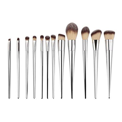 Fami 12PCS font la brosse d'eye-liner de sourcil de la base, les pinceaux cosmétiques de concealer,Argent