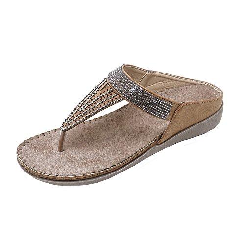 Sandalen Damen, Zolimx Frauen Flache Schuhe Perle Böhmen Lady Slippe Sandalen Peep-Toe Outdoor Schuhe Slipper - Peep-womens Schuhe