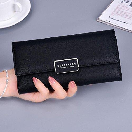 Portafoglio Donna, Tpulling Borsa lunga della borsa della frizione di svago del raccoglitore di cuoio di modo delle donne (Gray) Black