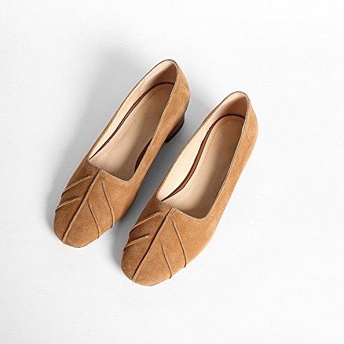 2017 Printemps Chaussures Simples Nouvelle Peau Bouche Peu Profonde Avec Confortable Chaussures Décontractées Tête Ronde Camel