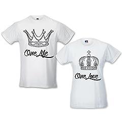 Idea Regalo - Babloo Coppia di T-Shirt Amore Uomo Donna Idea Regalo fidanzati 1 Love 1 Life Bianche Uomo XL - Donna XL