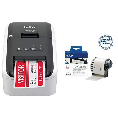 Brother QL800 Stampante Per Etichette, Collegabile a PC, Plug&Print, Stampa a Due Colori Rosso e Nero, senza WiFi + DK22205 Etichette a Lunghezza Continua, Carta Adesiva, 62 mm x 30.48 m, Bianco