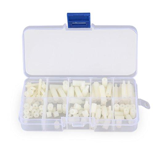 UKCOCO 120pcs m3 entretoises hexagonales en Nylon vis écrou Assortiment d'accessoires en Plastique à Distance (Blanc)