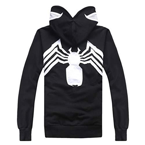 Henxizucun Herren Hoodies Spiderman 3D Printed Hoodies Kapuzenpullover mit durchgehendem Reißverschluss Outdoor Sweatshirt,Black,XXL