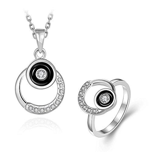 Thumby Crystal Point Diamond Frauen Halskette Ring 2-Teilig Set,mit Platin überzogen (Crystal Point Halsketten)