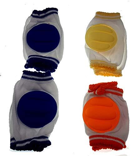 Ginocchiere per gattonare neonati bambini elastiche confezione 4 paia 2 azzurri 2 gialli