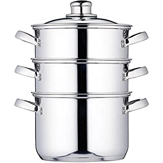 KitchenCraft Induction-Safe Stainless Steel 3-Tier Food Steamer Pan / Stock Pot, 18 cm (7
