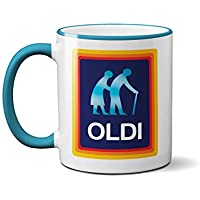 Oldi Mug- Birthdays Christmas Funny Gift Presents Celebration Novelty Old Large Heavy Duty Handle Dino Coated Dishwasher/Microwave Safe Sublimation Ceramic (Blue Handle Prime)