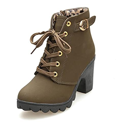 Tefamore Womens Fashion High Heel Lace Up Ankle Boots Ladies Buckle Platform Shoes (38, Vert)
