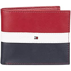 Tommy Hilfiger Leather Men's Wallet Red Navy