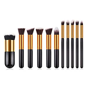 Anself – Set de brochas profesionales para maquillaje kit 24 piezas + bolsa, color negro